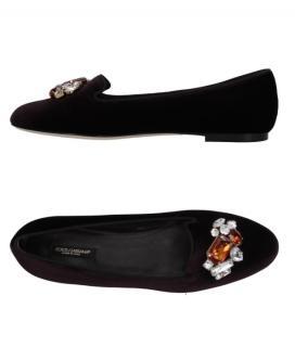 Dolce & Gabbana Crystal Embellished Velvet Loafers
