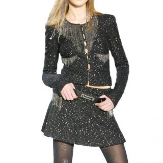 Chanel Black Sequin Embellished Fringed Fantasy Tweed Jacket