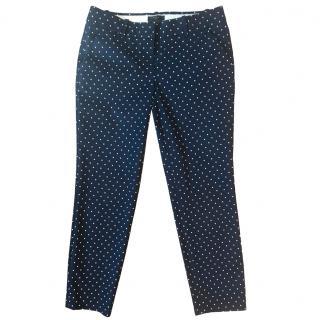 J. Crew Cafe Capri navy polka dot stretch pants