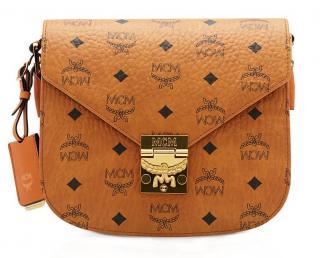 MCM Patricia Visetos Shoulder Bag in Cognac