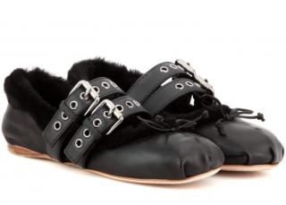 Miu Miu Double-Strap Leather & Shearling Ballet Flats