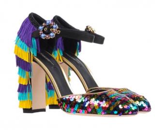 Dolce & Gabbana Sequin & Fringe Embellished Sandals