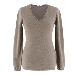 Fedeli Brown Cashmere V-Neck Knit Jumper