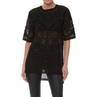 Sweaty Betty Black Embroidered Fishnet Top