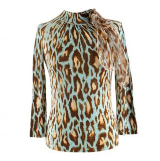 Christian Dior Blue Wool Blend Cheetah Print Ruffle Detail Top