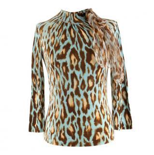 Christian Dior Blue Wool Blend Cheetah Print Ruffle Detail Top