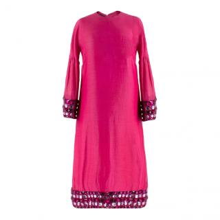Burberry Pink Jewelled Midi Dress