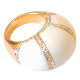 Bespoke Coral & Diamond 18ct Rose Gold Bombe Ring