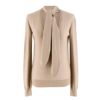 Dolce & Gabbana Beige Knit V-Neck Detachable Neck Tie Jumper