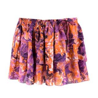 Just Cavalli Purple & Orange Floral Ruffled Mini Skirt