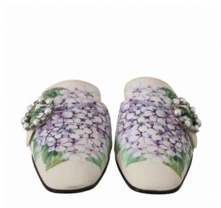 Dolce & Gabbana Hydrangea Ortensia flat slides