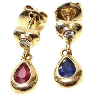 Bespoke Diamond, Ruby and Sapphire Earrings