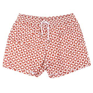 Fresobol Carioca White and Red Patterned Swim Shorts