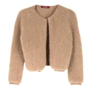 Max Mara Studio Brown Angora Knit Cropped Cardigan