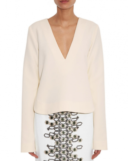 Ellery Humilis Bell-Sleeved Crepe Top
