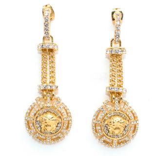 Versace Crystal Embellished Medusa Drop Earrings