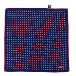 E. Marinella Napoli Blue & Pink Silk Pocket Square