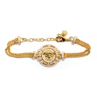 Versace Crystal Embellished Medusa Chain Bracelet