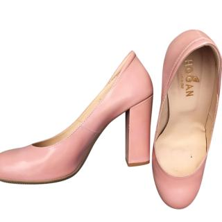 Hogan Pink Round-Toe Pumps