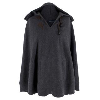 Ralph Lauren Grey Wool Hooded Poncho
