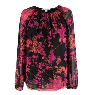 Diane Von Furstenberg Floral Silk Keyhole Top
