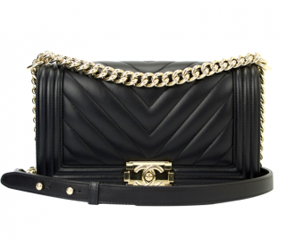 Chanel Black Lambskin Chevron Boy Bag