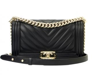 Chanel Black Lambskin Chevron Boy Bag