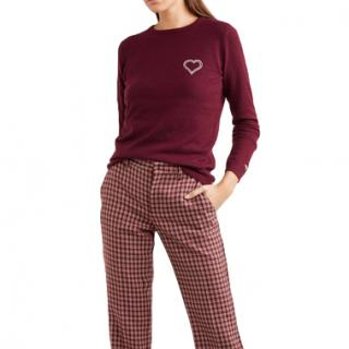 Bella Freud Burgundy Embroidered cashmere sweater