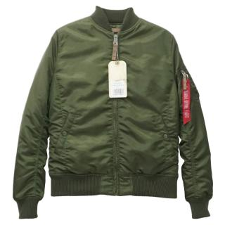 Alpha Industries Dark Green Flight Quilted Bomber Jacket