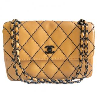 Chanel Beige Lambskin Diamond Stitch Detail Flap Bag