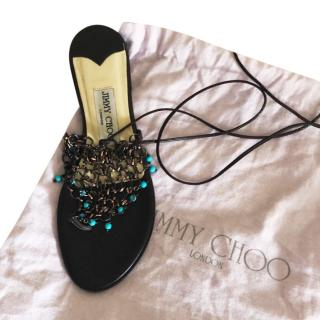 Jimmy Choo Chain Beaded Lace-up Sandals