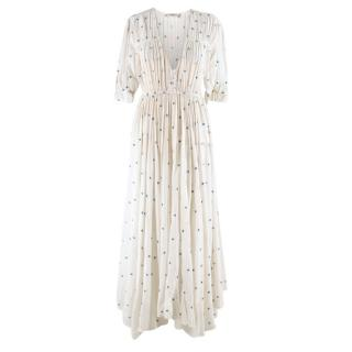 Mes Demoiselles White & Blue Spotted Maxi Dress