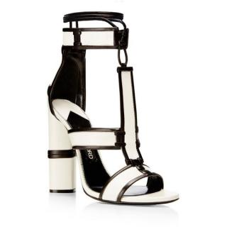 Tom Ford Harriet Chalk-Black Patchwork Leather Sandals
