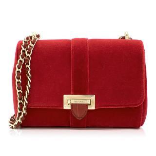 Aspinal of London Red Velvet Small Lottie Bag