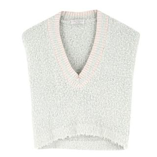 Brunello Cucinelli Textured Knit Teal Sleeveless Top