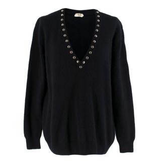 Saint Laurent Paris Cashmere Studded V-Neck Jumper
