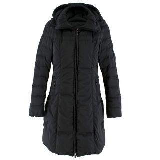 Moncler Black Long Down Filled Hooded Jacket
