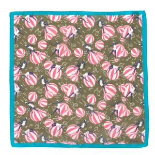 Drakes Olive Beach Ball Print Pocket Square