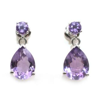 Bespoke 5.73ct Amethyst Tear Drop Silver Set Earrings