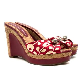 Marc by Marc Jacobs Red Floral Cork Wedges