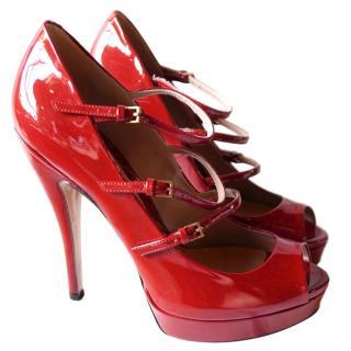 Gucci 'Lisbeth' Red Patent Multi-Strap Pump