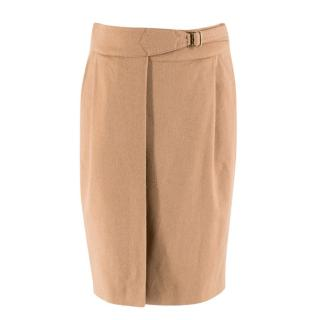 Max Mara Camel Cashmere Blend Wrap Style Skirt