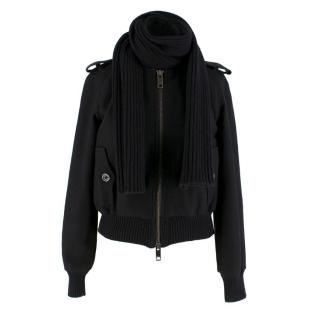 Burberry Black Wool Blend Cropped Bomber Jacket
