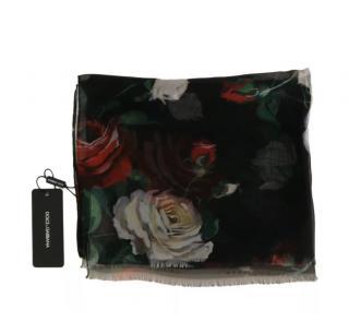 Dolce & Gabbana Black Silk Floral Print Wrap Scarf