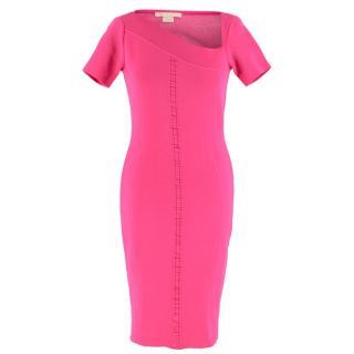 Antonio Berardi Neon Pink Mesh Detail Crepe Bandage Dress