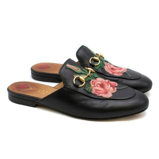 Gucci Black Rose Embroidered Princetown Slippers