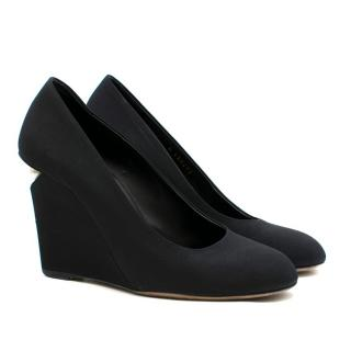 Chanel Black Canvas Pearl Embellished Wedges