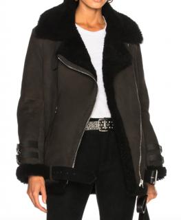 Acne Studios Velocite Suede Jacket in Dark Grey & Black