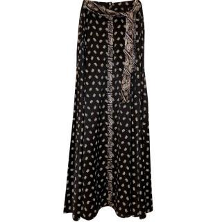 Pierre Balmain Silk Paisley Print Maxi Skirt