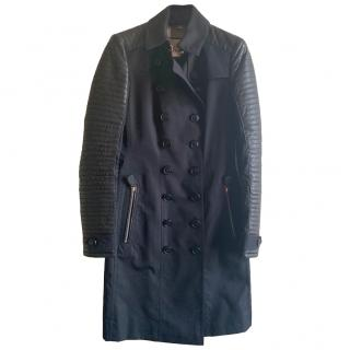Burberry Leather Sleeve Trench Coat